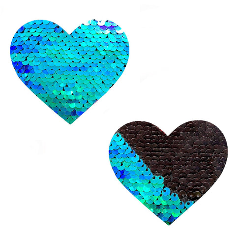 Ariel Green & Black Sequin I Heart U Pasties, Heart Nipple Pasties - NevaNude