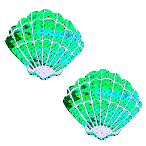 Ariel Green Blue Sequin Mermaid Shell Pasties, Shell Pasties - NevaNude