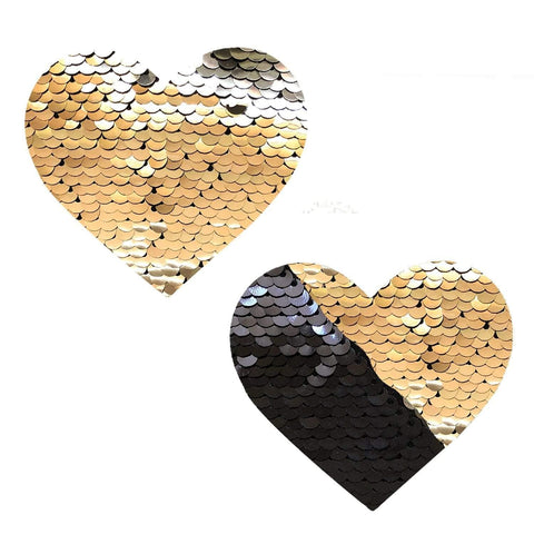 Athena Gold & Black Sequin I Heart U Pasties, Heart Nipple Pasties - NevaNude