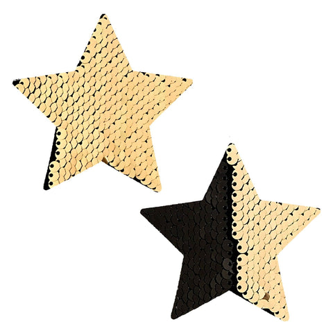 Athena Gold & Black Sequin Starry Nights Pasties, Star Pasties - NevaNude