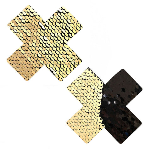 Athena Gold & Black Sequin X Factor Pasties, X Pasties - NevaNude