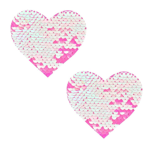 Aurora Light Pink & Pink Sequin I Heart U Pasties, Heart Nipple Pasties - NevaNude