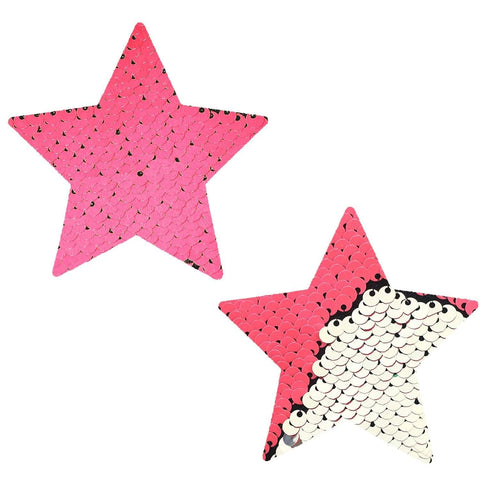 Bitchin' Blacklight Pink Silver Flip Sequin Starry Nights Pasties, Star Pasties - NevaNude