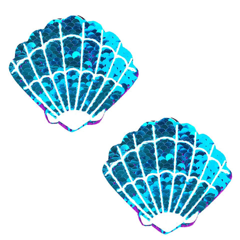 Blue Jasmine Sparkle Sequin Mermaid Shell Pasties, Shell Pasties - NevaNude