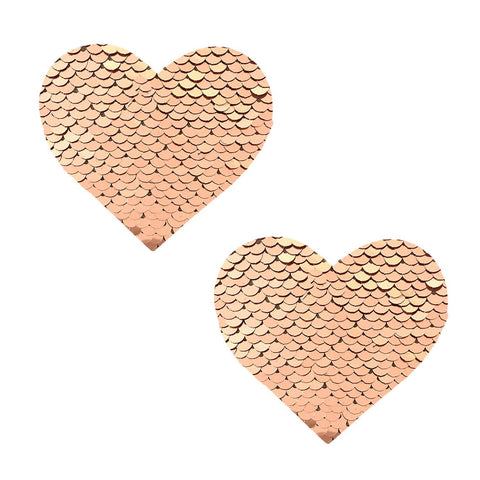 Champagne Showers Flip Sequin I Heart U Pasties, Heart Nipple Pasties - NevaNude