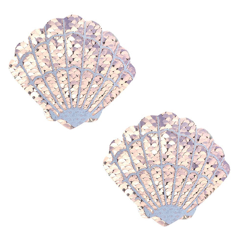 Champagne Showers Sequin Mermaid Shell Pasties, Shell Pasties - NevaNude