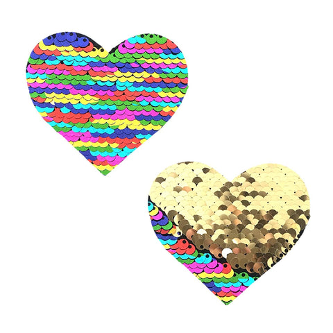 FunFetti Multicolor Gold Flip Sequin I Heart U Pasties, Heart Nipple Pasties - NevaNude