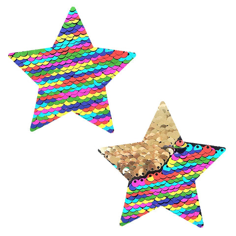 FunFetti Multicolor Gold Flip Sequin Starry Nights Pasties, Star Pasties - NevaNude