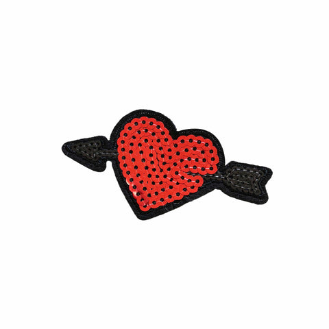 Cupid's Arrow Red Sequin Iron-On Patchette or Sticker