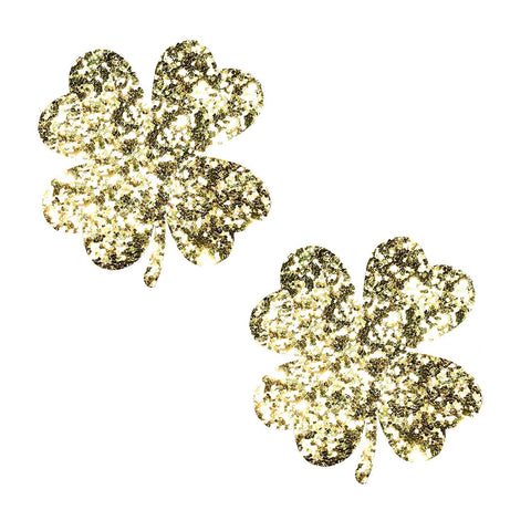 Kiss me I'm Irish Super Sparkle Gold Glitter Clover Pasties!, Patrick's Day Nipple Pasties - NevaNude