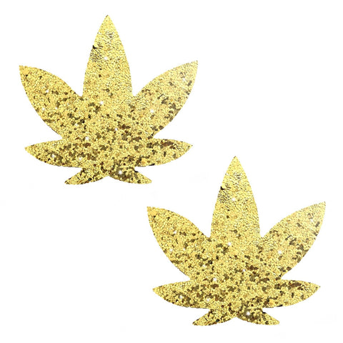 Gold weed leaf nipple pasties, Neva Nude