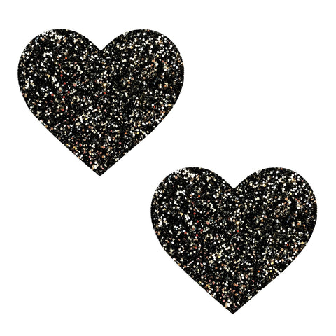 Super Sparkle Black Tinsel Town Glitter Nipztix Heart Pasties
