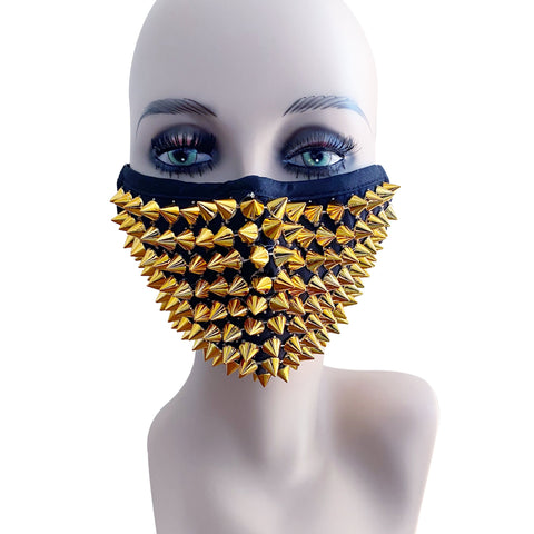 Gluttony Gold Stud Face Masks With Filter Pocket And Wet Vinyl Knix Set