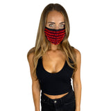 Lust Red Stud Face Masks With Filter Pocket
