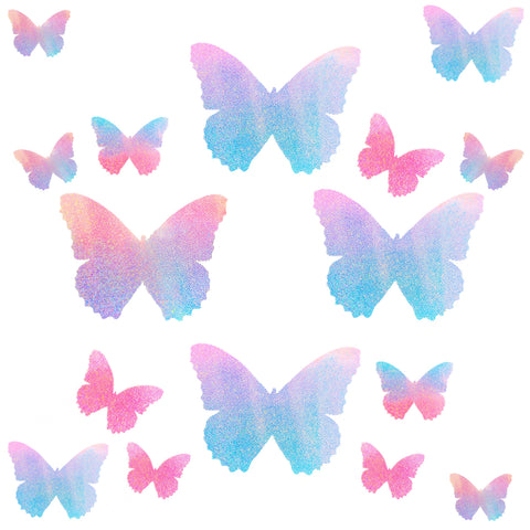 Tinky's Revenge Pink Blue Holographic Butterfly Sticker Top