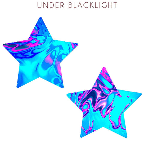 Blacklight blue nipple pasties, Neva nude