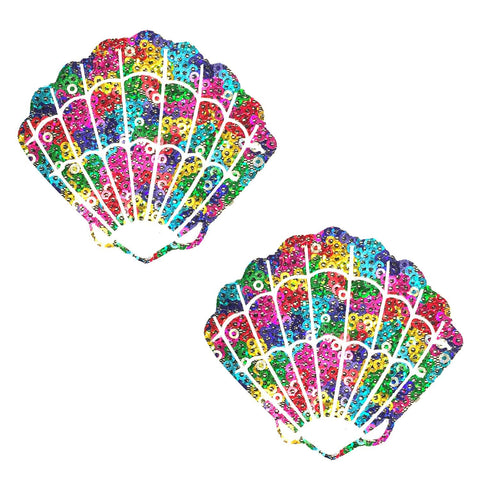 Multicolor pride shell nipple pasties, Neva Nude