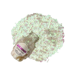 Lucid Dreams Blacklight Cosmetic Glitter Glitz Grenade Keychain in Aloe Gel