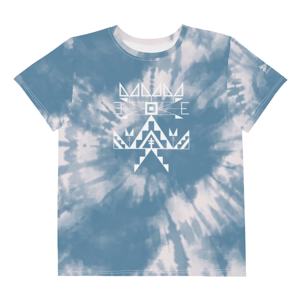 Youth Sioux Blue Tie Dye Crew Tee