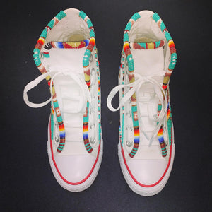 Custom Beaded Converse Hightop Shoes- Twin Style