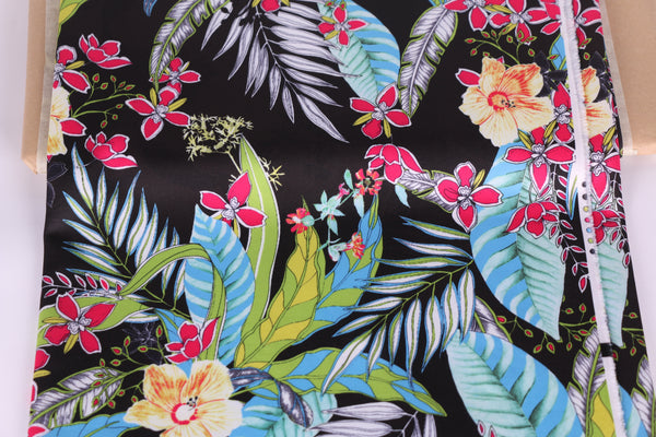 tropical floral print scuba fabric for lingerie