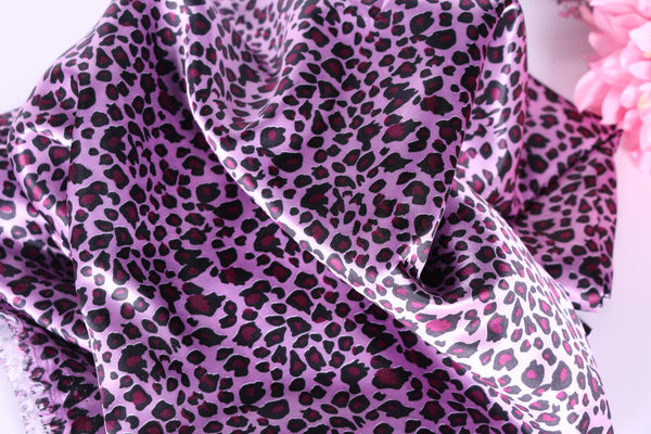 Pink Leopard Satin Charmeuse