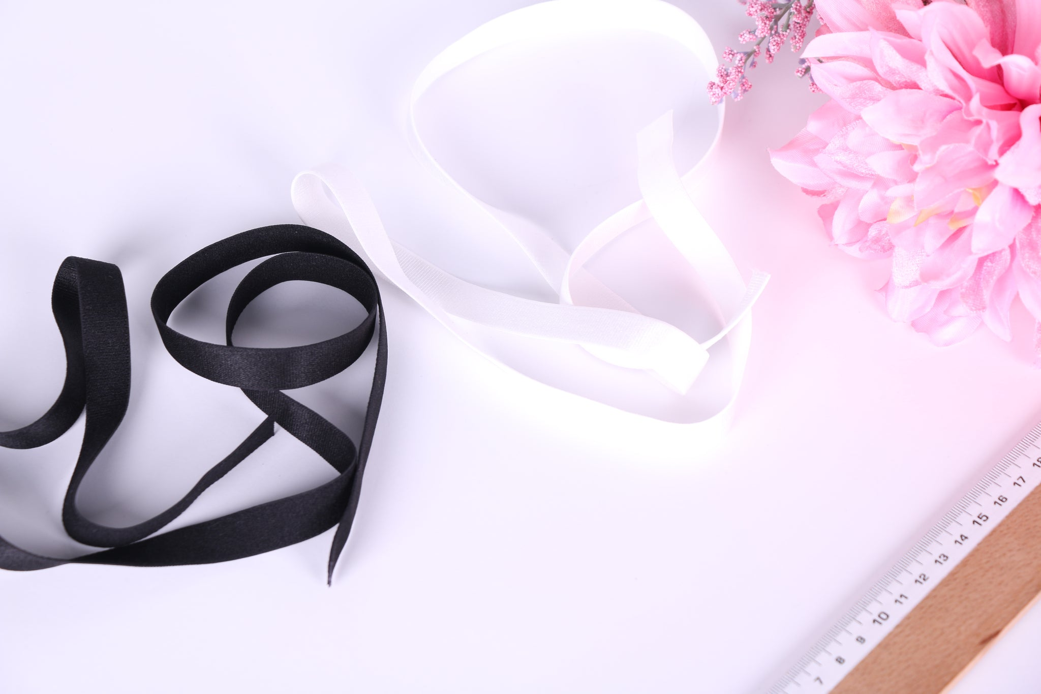 Black or White Bra Strap Elastic 12mm