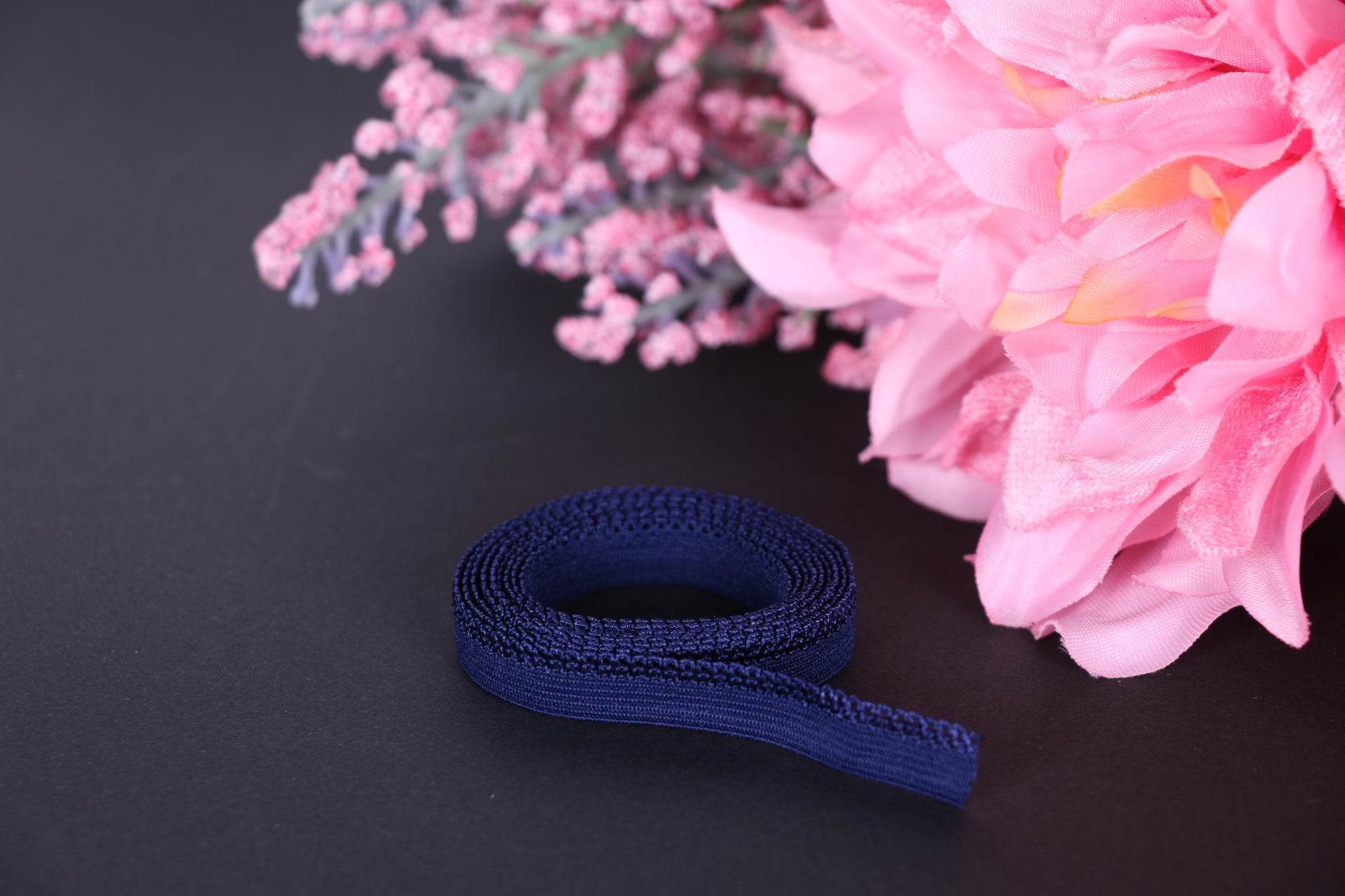Navy panty picot elastic - Elastics for bra making lingerie making