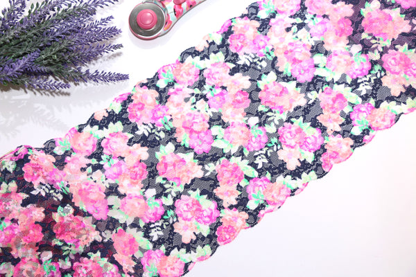 Neon Floral Stretch Lace