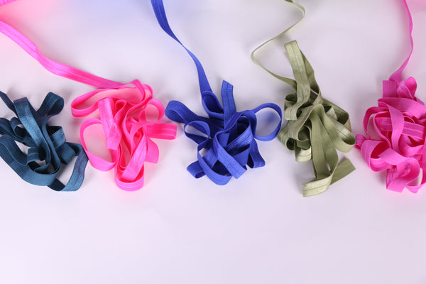 cobalt blue, military blue, garden rose, willow and garden rose fold over elastic