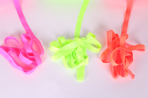 neon pink fold over elastic, neon yellow fold over elastic