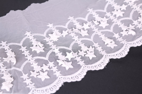 White Stars Embroidered Tulle Lace. Non-stretch lace