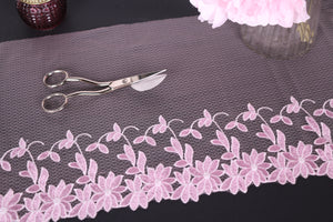 pink floral embroidered tulle lace