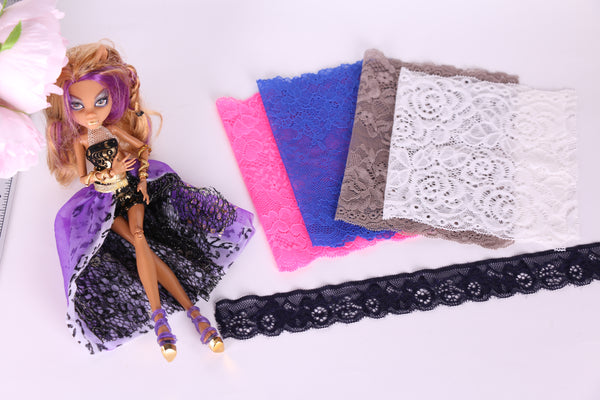 materials to make lingerie for dolls such as barbie, monster high, bratz