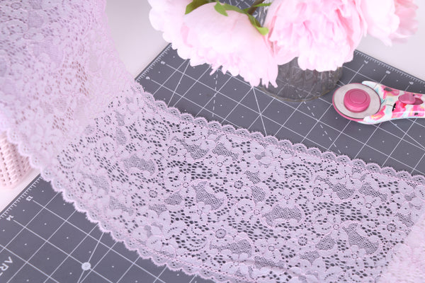 lavender stretch lace for bra making