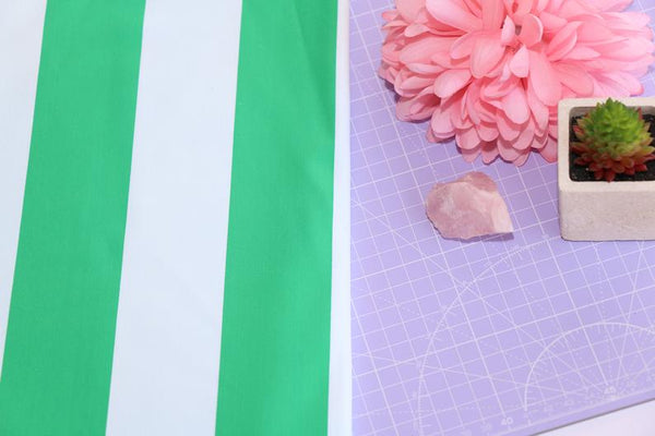 white and green striped swim fabric