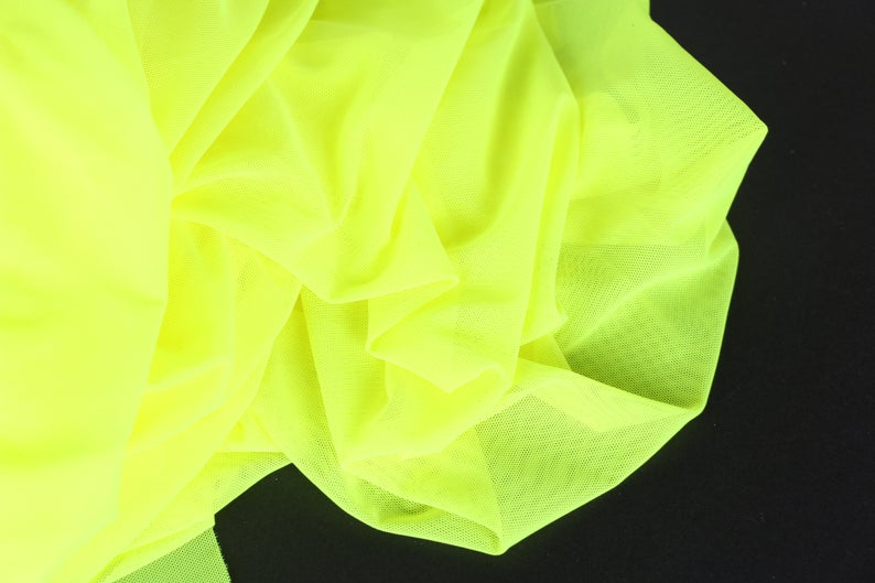 neon yellow stretch mesh
