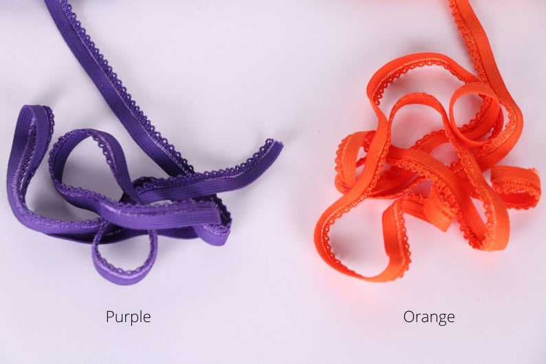 "Purple and Orange Panty Elastic 3/8"" (10 mm)"