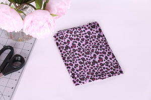 Pink leopard satin charmeuse fabric for kimonos, loungewear, lingerie and bra making