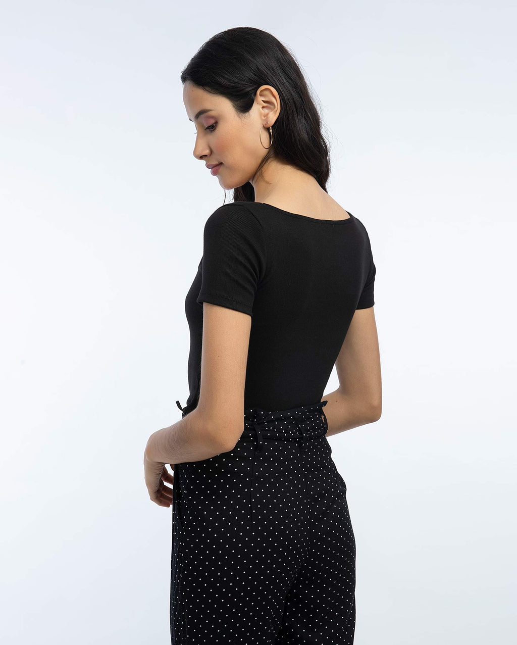 Polo Crop Mujer Negro