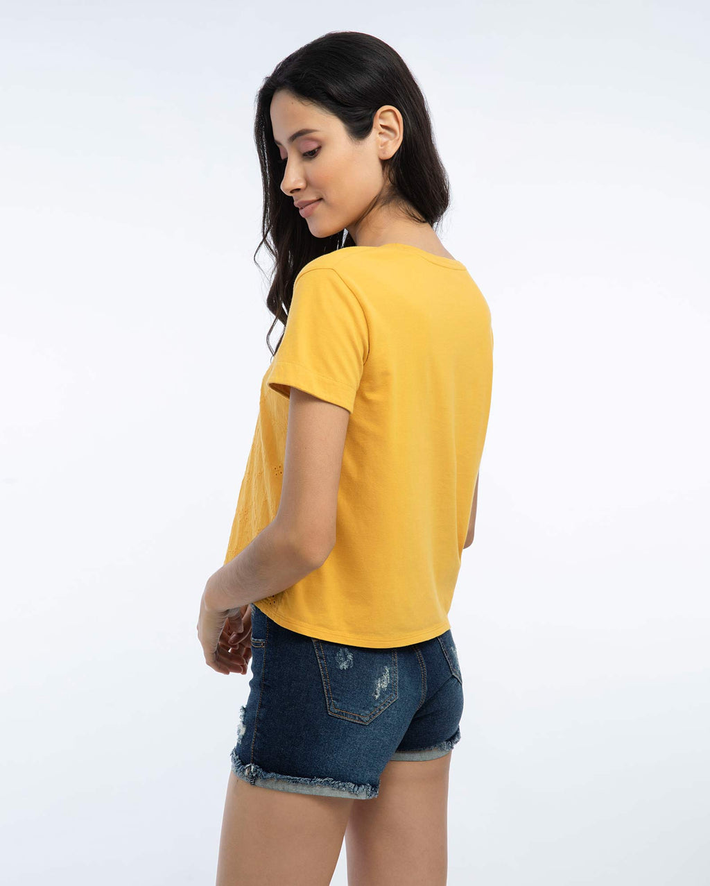 Polo Crop Mujer Mostaza