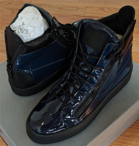 f9c74667eab71 $695 Mens Giuseppe Zanotti Patent Leather High-top Sneakers Space 42