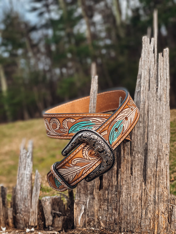 Leather Belt - Feather
