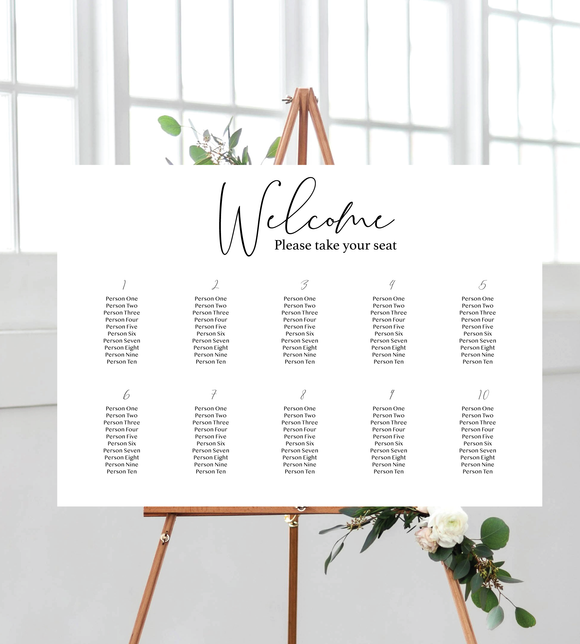 Black and white seating chart landscape for weddings. Ships from Auckland, NZ.
