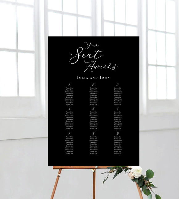 Black and White Seating Chart/Sign/Poster for wedding. Ships from Auckland, NZ