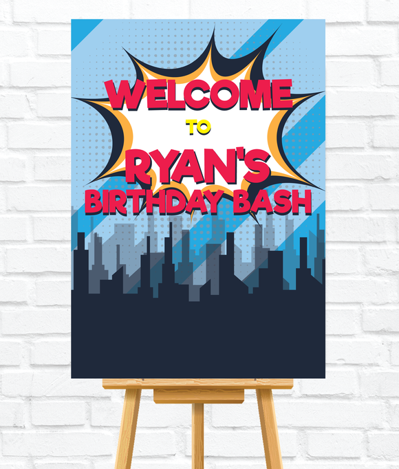 Blue Superhero Welcome Sign for Kids parties. Perfect for boys superhero theme.Ships from Auckland, New Zealand (NZ)