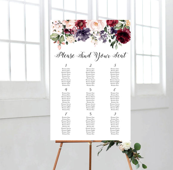 Burgundy Watercolour Flowers Seating Chart