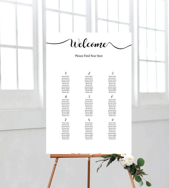 Calligraphy seating chart/board. Perfect for weddings. Ships from Auckland, New Zealand (NZ).