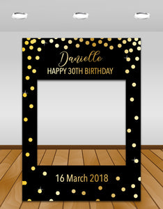 Black with Gold Confetti Birthday Instagram photo frame prop or selfie frame