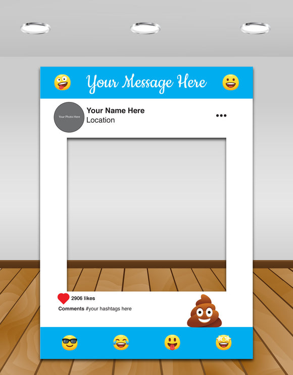 Emoji Kids Party Instagram photo frame prop or selfie frame
